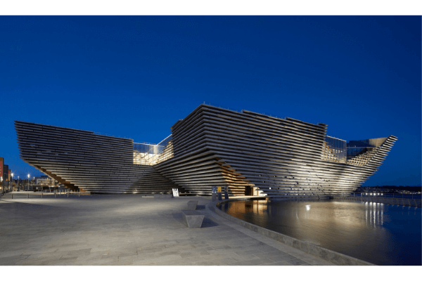 An image of the V and A building in Dundee at night