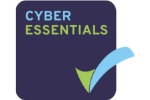 cyber essentials logo in dark blue square with green and light blue tick