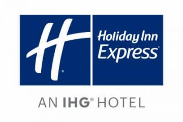 Blue holiday Inn express logo with text saying an IHG hotel underneath