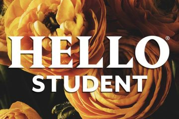 Hello Student white text logo with orange peony roses in background