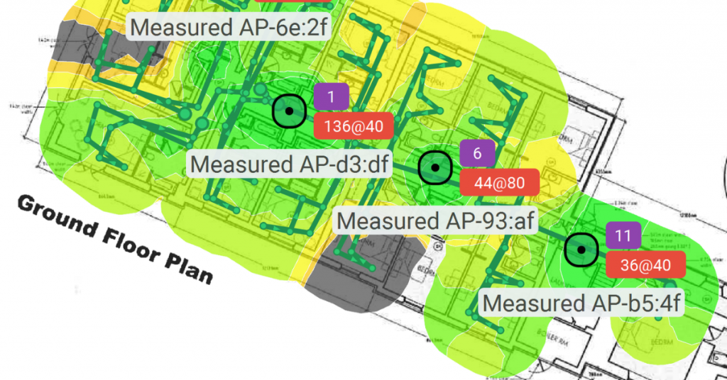 Option 3 - Predictive WiFi Survey. Plan showing wifi coverage of the ground floor in a building