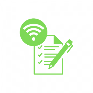 green icon showing ticked off checklist and wifi symbol